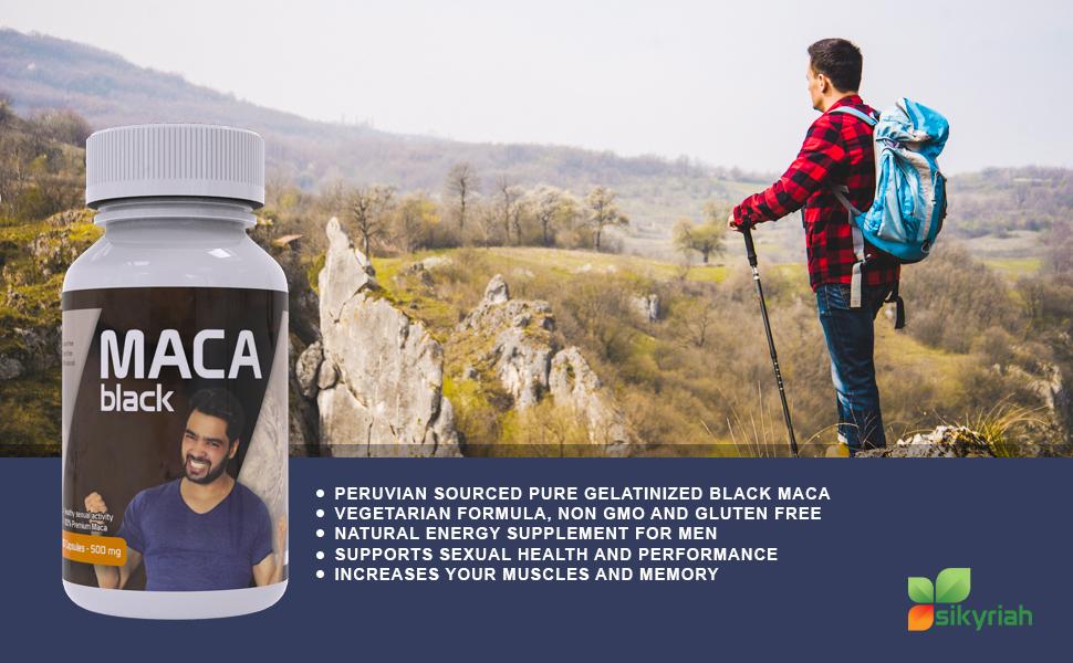 Black Maca Capsules for men - Gelatinized - 1000 mg per dose